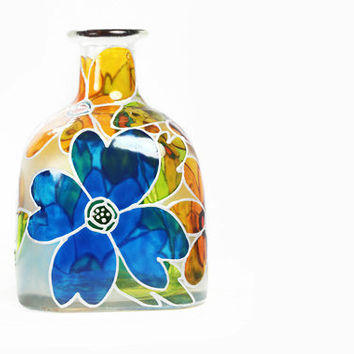 "Hand Painted ""Patron"" Bottle Glass Bottle White Yellow Blue Flowers Abstract Retro Home Decor Decorative Glass Art"