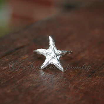 Starfish Star Fish ring - Sterling silver Sea Ocean life