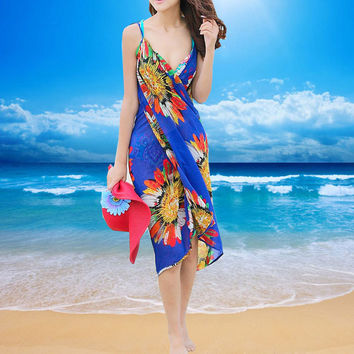 New Sexy Summer Women Chiffon Beach Dress Cover-up Spaghetti Strap Sheer Beach Wear Swimwear Bohemian Bikini