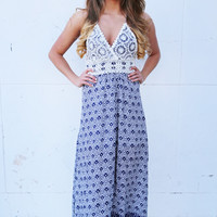 Summer Getaway Lace Printed Maxi {Navy}