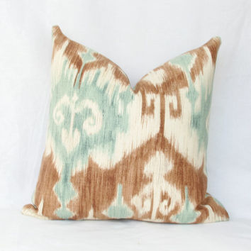 "Blue & tan ikat decorative throw pillow cover. 18"" x 18"". 20"" x 20"". 22"" x 22"". 24"" x 24"". 26"" x 26"". lumbar sizes"