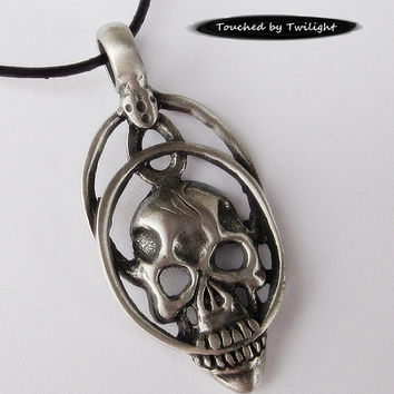 """Antique Pewter Skull Necklace on 18"""" Leather Cord"""