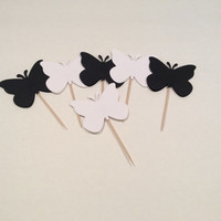 Black and White large Butterfly cupcake toppers. Butterfly Party picks, Party decor, baby shower, happy birthday, 18 per order.