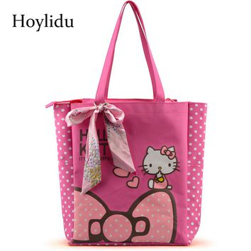 Oxford Women Handbags Cute Hello Kitty Casual Tote with Bowknot Female Multi-function Shopping Bag Shoulder Lunch Bags For Kids
