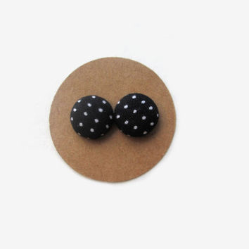 Black with White Dots Button Earrings // Black and White // Monochrome // Classic Black White // Black and White Stud Earrings // White Dots
