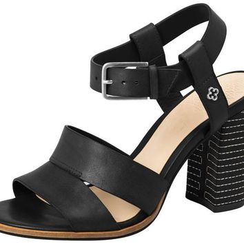 Leather Sandal Block Heel Black - Capodarte