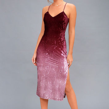 Sunset Skyline Burgundy Ombre Velvet Midi Dress