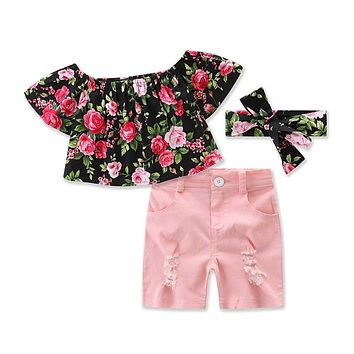 Kid Girl Clothes Set Floral Off Shoulder Tops+ Pink Short+Headband Outfits Children Set