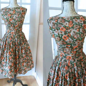 Vintage  Floral/Novelty Dress Flare 50s Pleated Full Circle Skirt, Floral Print Cotton Pinup Day Dress