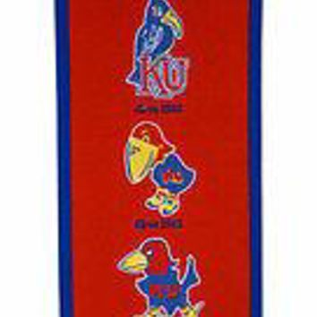 Kansas KU University Jayhawks NCAA 8x32 Red Wool Heritage Banner