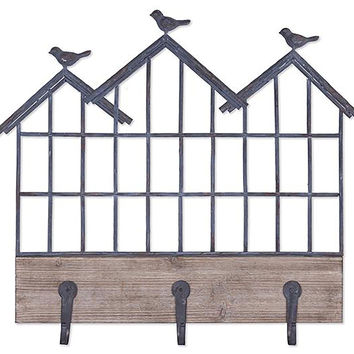Bexley Metal Birds Wall Shelf With Hooks