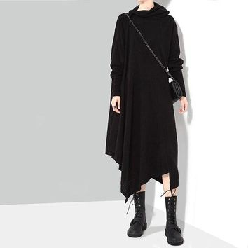 DCCKXT7 Women Loose Casual Simple Solid Color Irregular Turtleneck Knit Middle Long Section Long Sleeve Dress