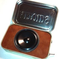 Portable Amp and Speaker for MP3 Player Burgandy/Brown by ampoids
