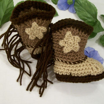 Brown and Tan Baby Cowboy Boots with Fringe---Baby shower Gift-#180