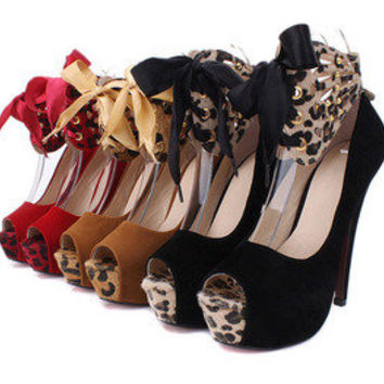 Vixen Boutique — Sexy Leopard Open Toe High Heel Shoes