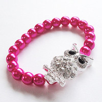 "Pink Pearl Silver Rhinestone Owl Connector Stretchy Elastic Bracelet, Fits 6.5""-7.00"", Birthday Gift Under 20"
