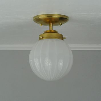 White Ribbed Flush Mount Light
