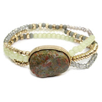 Natural Green Stone + Crystal Bracelet