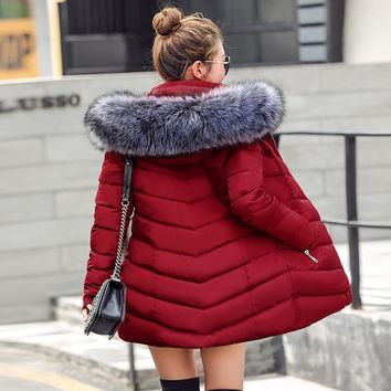 Women Quilted Winter Jacket With Faux Fur Collar