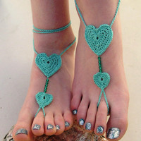Barefoot Sandals - Crocheted Heart Anklet - Foot Jewelry - Beach Wedding - Soleless - Bridesmaid accessory - Yoga - Sexy Jewelry