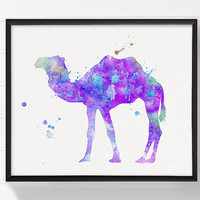 Purple Camel Art Print, Watercolor Camel Painting, Camel Illustration, Camel Poster, Animal Painting, Kids Room Decor, Girls Room Decor