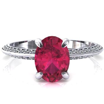 Nancy Oval Ruby 4 Prong 1/2 Eternity Diamond Knife Shank Accent Engagement Ring