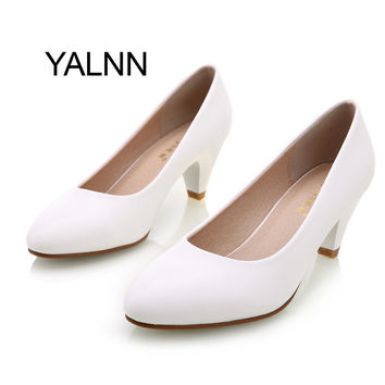 YALNN Elegant Women Pump Birthday Gift Genuine Leather High Quality Shoes Classic Med Office Ladies Shoes High Heels Shoes