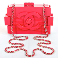 Chanel Fuchsia Pink Lego Clutch Boy Bag
