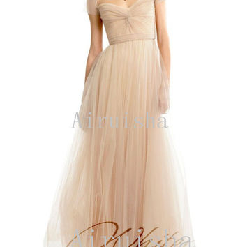 Pretty A line cap sleeves ruffles on the bodice floor length fixed sash tulle wedding dress