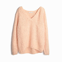 Vintage 90s Super Chunky Knit Sweater in Pale Apricot - women's small (oversized)