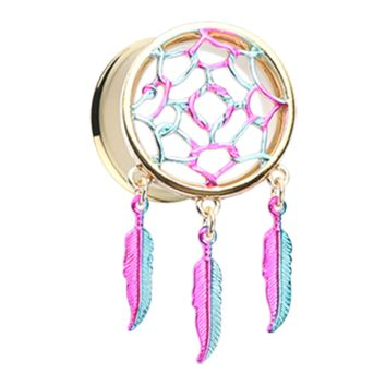 Golden Dreamcatcher Feather Dangle Ear Gauge Plug Surgical Steel Body Jewelry