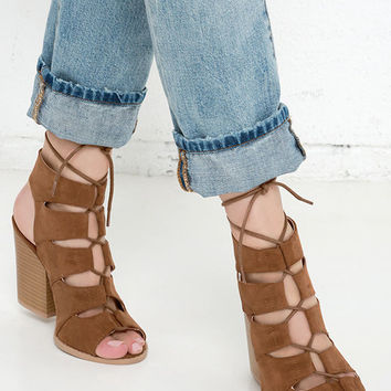 Honey Babe Dark Rust Suede Block Heel Lace-Up Sandals