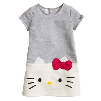3-7yrs Baby Girls Dresses Hello Kitty 2017 Brand Children Dresses For Girls Princess Dress Christmas Kids Clothes Vetement Fille