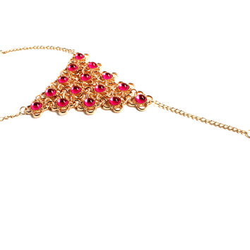 """""""Indian Summer"""" Gold Foot Chain With Gemstones"""