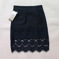 Spring Women Skirt Lace Elasticity Black Skirts