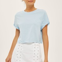 Crop Roll Back T-Shirt | Topshop