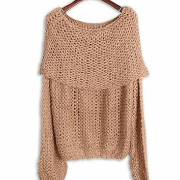 Camel Slash Collar Long Sleeve Sweater