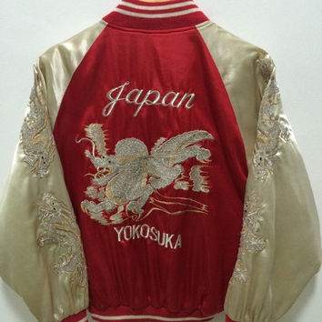 MEGA SALE Vintage Sukajan Japan Dragon Eagle Tiger Sakura Souvenirs Yakuza Embroidery Satin Jacket Rare
