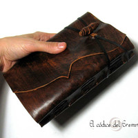 Blank Book Handmade, Leather Journal, Notebook. Antiqued MEDITATIO. A5 SIZE