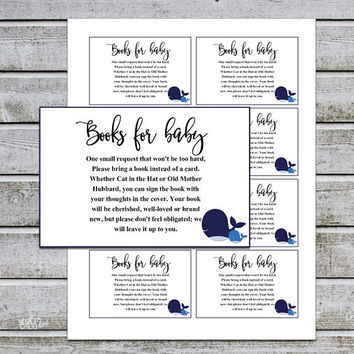 Whale Baby Shower Bring a Book Instead of a Card Book Request Baby Library Printable Baby Shower Invitation Insert (v40t) Instant Download