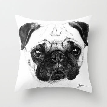 A pug Throw Pillow by Jeanne