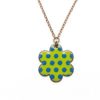 Flower Necklace - Blue on Lime Green Enamel Polka Dots
