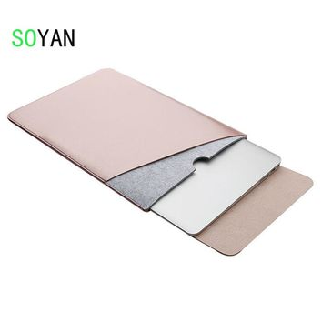 Laptop bag case Soft Leather Sleeve for MacBook Pro Retina & Air 11 13 15 Dual Pocket  with Safe Interior and Exterior Mouse Pad