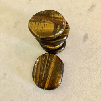 Tigers Eye Palm Stone/ Worry Stone.  ONE w/ FREE Affirmation Card/Bag with Healing Energy Infused. Crystal Magic. Natural Crystal Tiger Eye