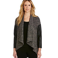 IC Collection Faux-Leather-Sleeve Cardigan - Grey