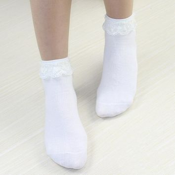 YRRETY Fashion Women Girls Lace Ruffle Frilly Ankle Socks Hollow Harajuku Lovely Cute Vintage Retro Froral Lady White Princess