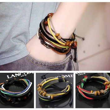 1pcs Wrap Multilayer Genuine Leather rope Bracelet Fashion with charms hot sales