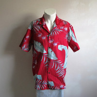 Vintage 1960s Hawaiian Shirt LIBERTY house  Cotton Print Red White Tiki Short Sleeve Mens Summer Shirts Large