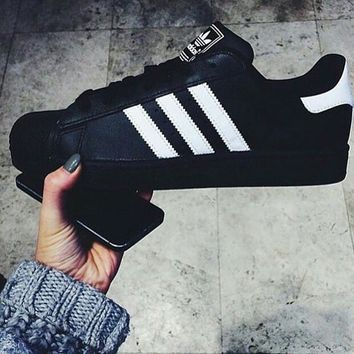 Adidas Superstar Fashion Shell-toe Flats Black&white line Sneakers Sport Shoes Skate shoes