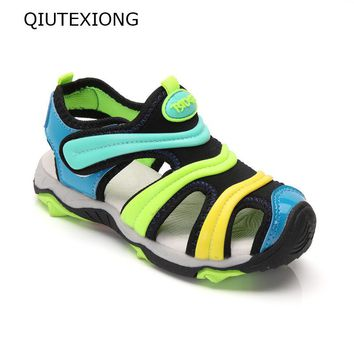 Boys Sandals Green And Yellow Mix Color Kids Summer Shoes Rubber Sole Antiskid Beach Shoes Children Moccasins Meisjes Schoenen